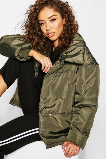 Womens Khaki Funnel Wrap Neck Puffer Jacket