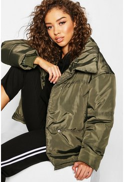 Funnel Wrap Neck Puffer Jacket, Khaki, Женские