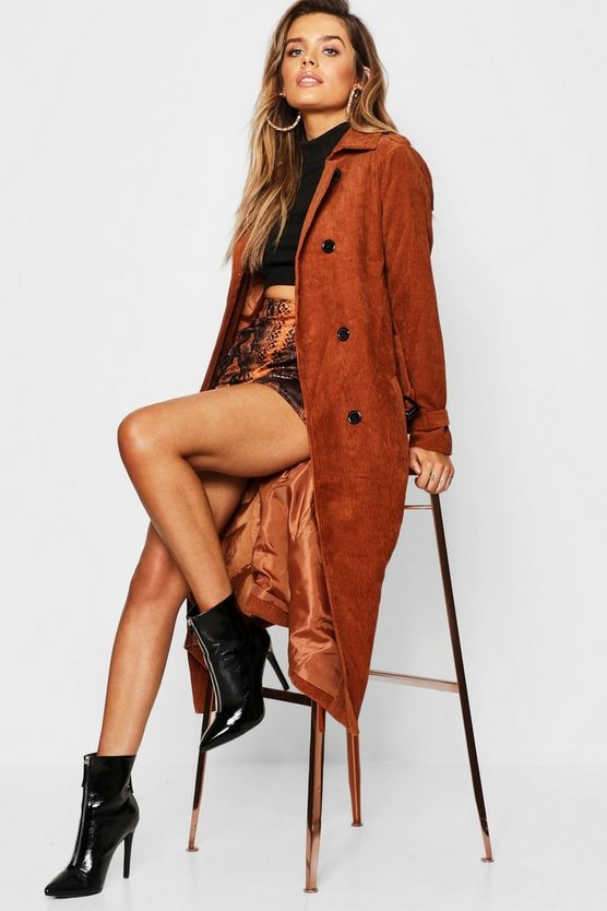 Brown Cord Trench Coat