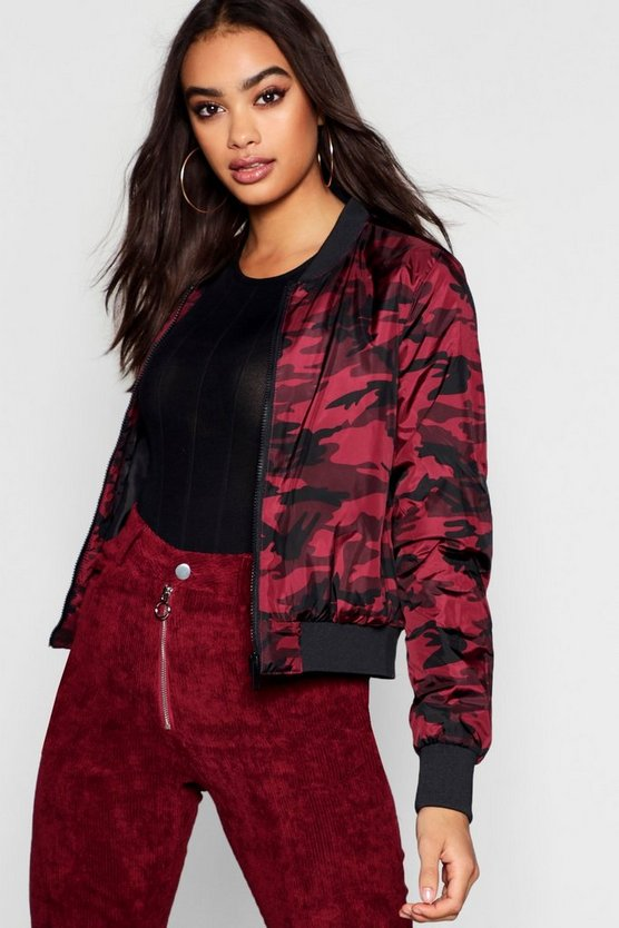Womens Red Camo Print Bomber Jacket