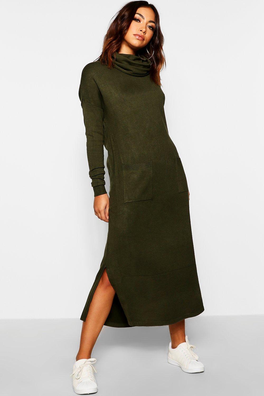 khaki Knitted Dress Jumper Pocket Neck Roll 6Pwv1P