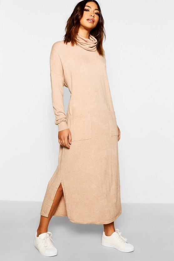 Roll Neck Knitted Pocket Jumper Dress