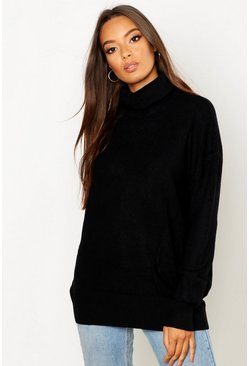 Roll Neck Knitted Oversized Jumper, Black
