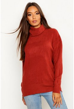 Rust Roll Neck Knitted Oversized Jumper
