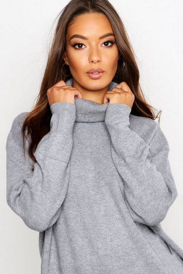 Womens Silver Roll Neck Knitted Oversized Jumper