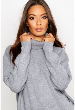 Womens Silver Roll Neck Knitted Oversized Sweater