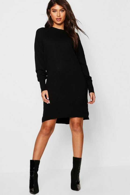 Womens Black Crew Neck Knitted Oversized Jumper