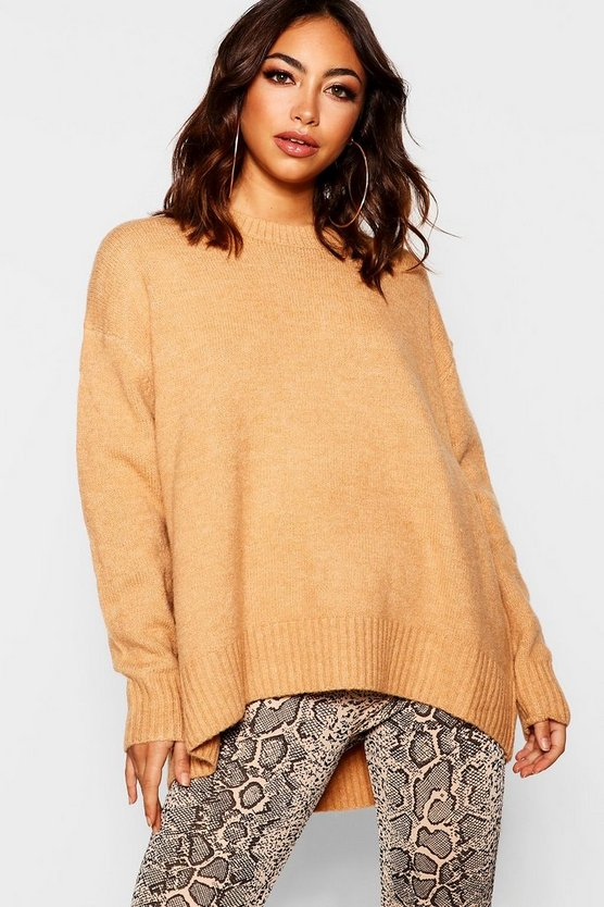 Womens Camel Oversized Jumper