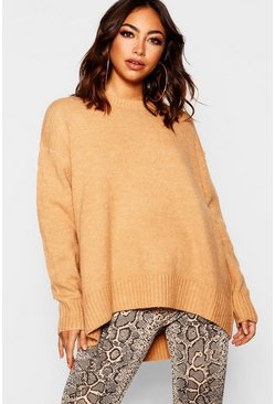 Womens Camel Oversized Sweater