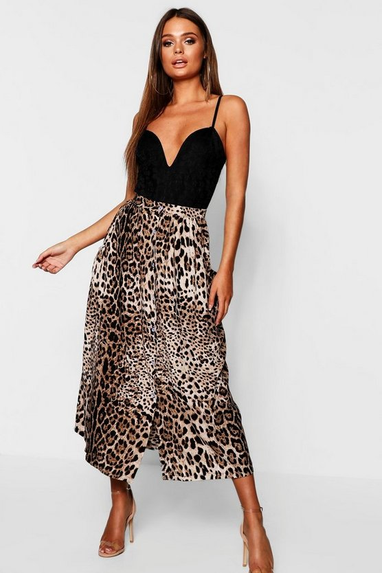 Stone Leopard Print Button Through Midaxi Skirt