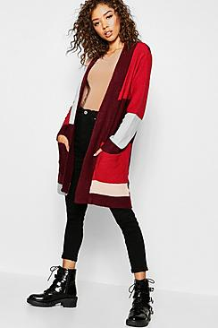 Colour Block Cardigan With Pockets