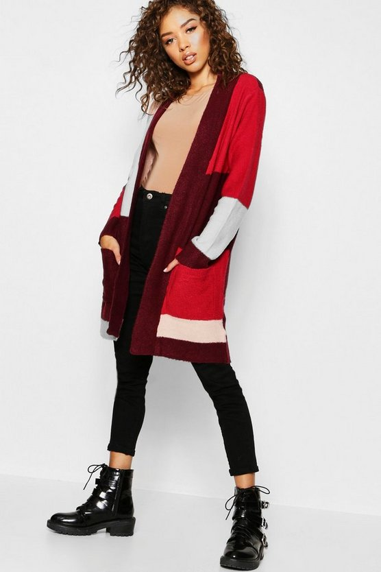 Womens Magenta Colour Block Cardigan With Pockets