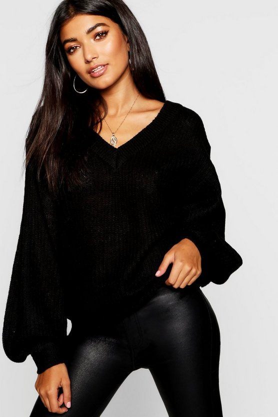 Womens Black Balloon Sleeve V Neck Jumper