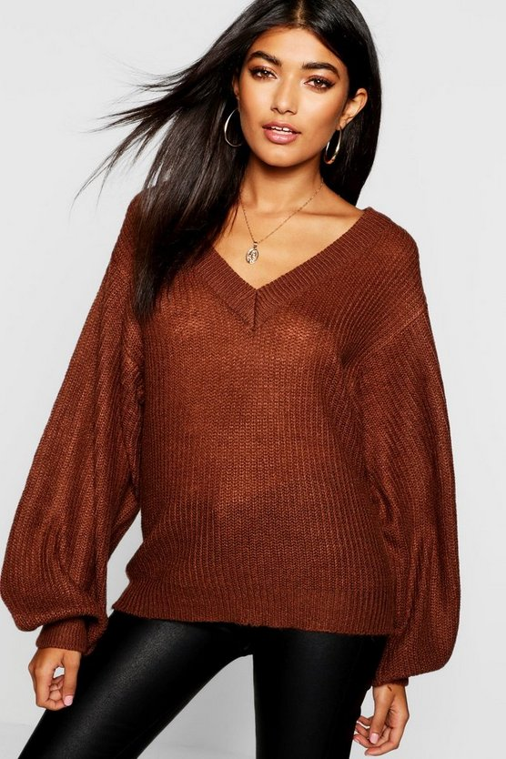 Balloon Sleeve V Neck Jumper