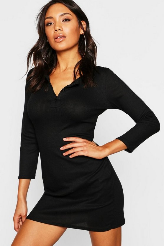 Womens Black Rib Knit Long Sleeve Button Up Mini Dress