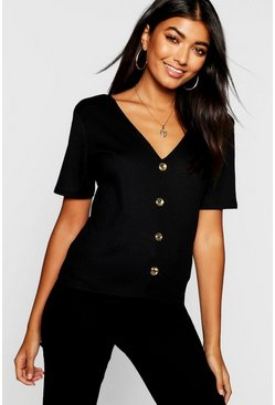 Womens Black Gold Button Up V Neck Top