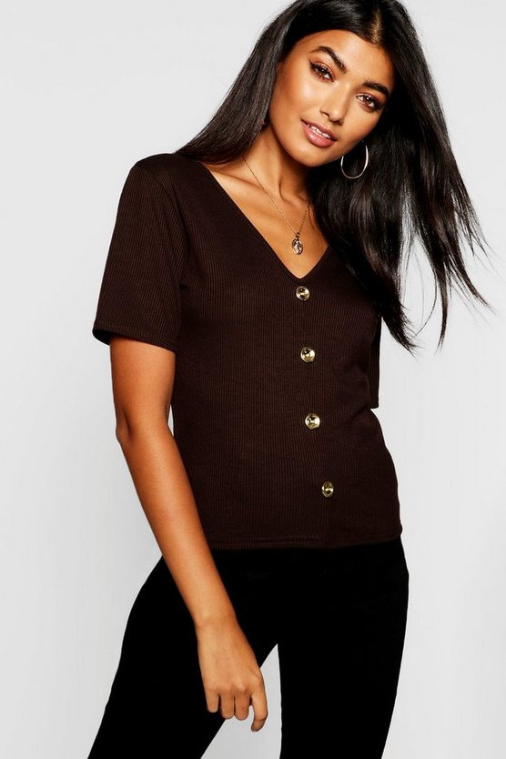 Womens Chocolate Gold Button Up V Neck Top