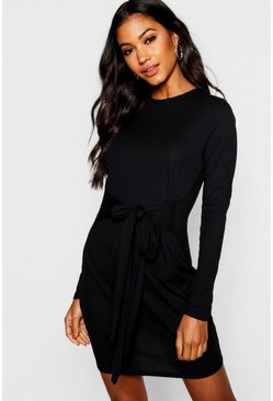 Womens Tie Front Rib Knit Mini Dress