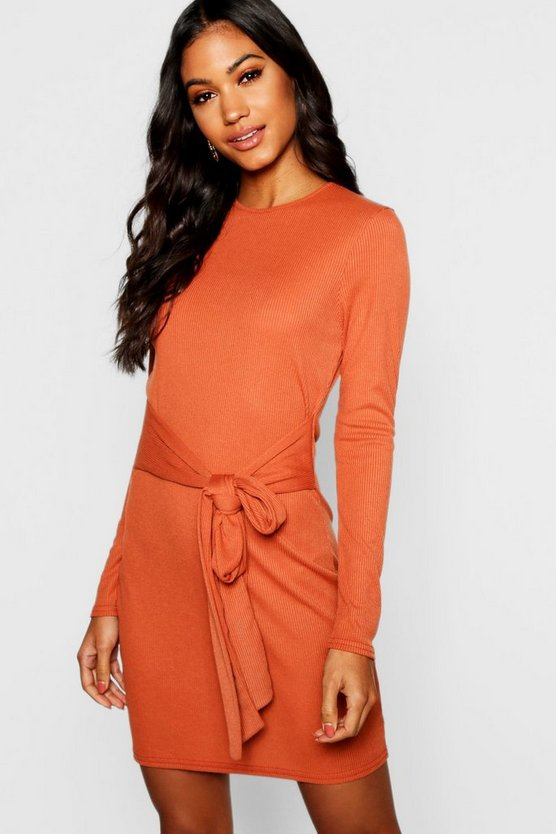 Tie Front Rib Knit Mini Dress