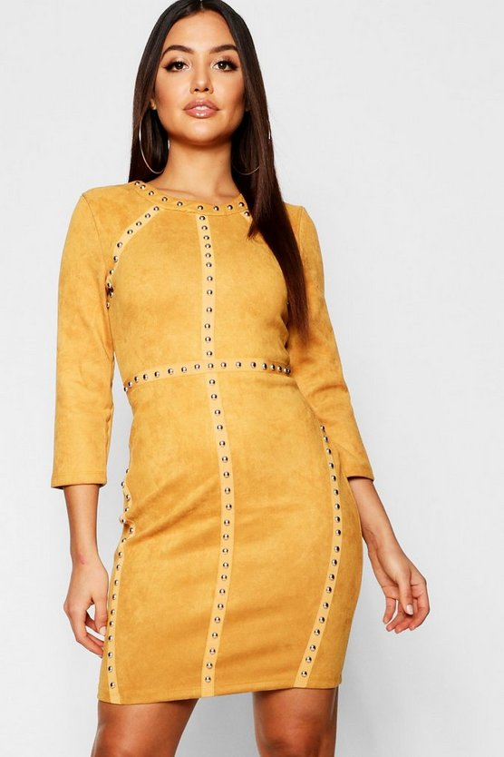 Suedette Stud Midi Dress
