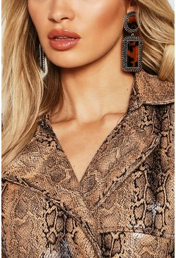 Womens Brown Statement Oversized Tortoiseshell Earrings
