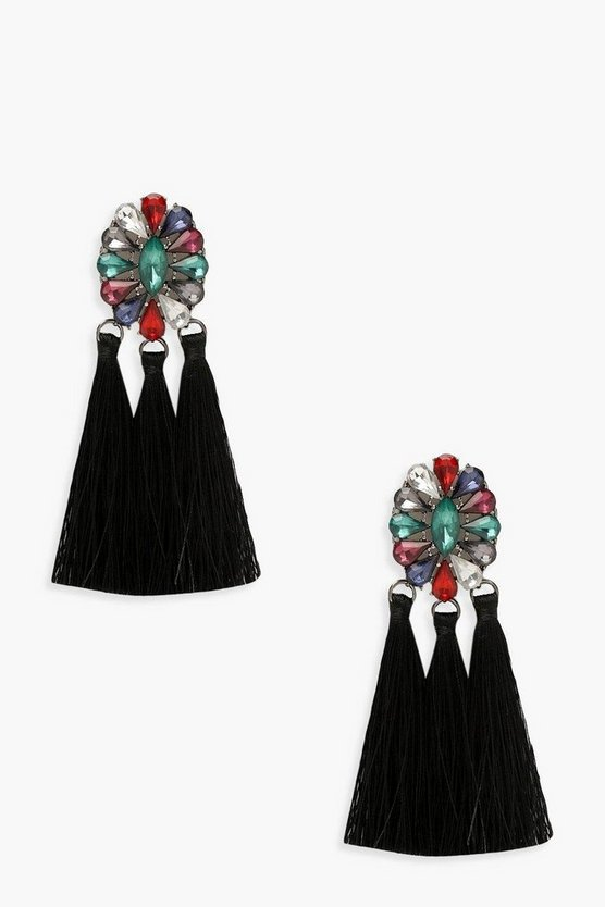 Statement Gem Tassel Earrings