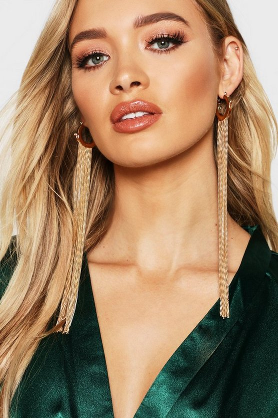 Hoop Extra Long Chain Tassel Earrings