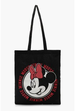 Womens Black Disney Minnie Circle Head Tote
