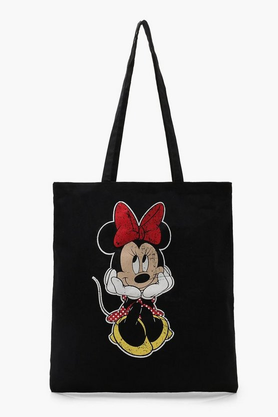 Womens Black Disney Minnie Head In Hands Tote