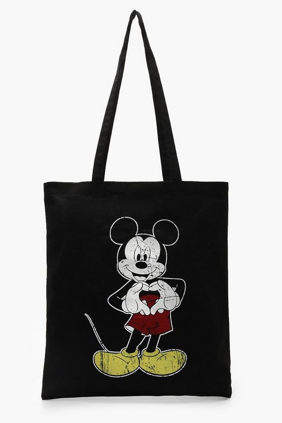 Womens Black Disney Mickey Heart Hands Tote