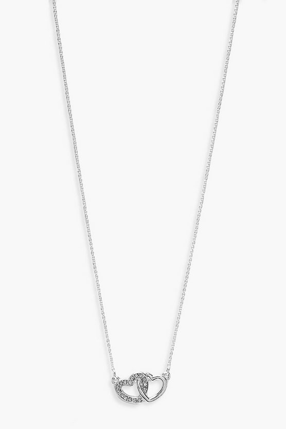 Womens Silver Simple Diamante Linked Heart Necklace