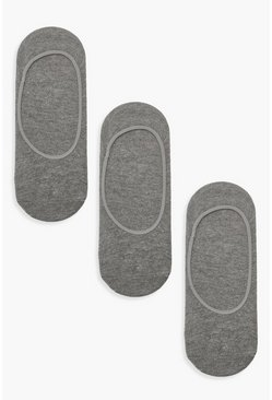 Womens Grey 3 Pack Invisible Socks