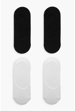 Womens Multi Black & White Invisible Sock 4 Pack