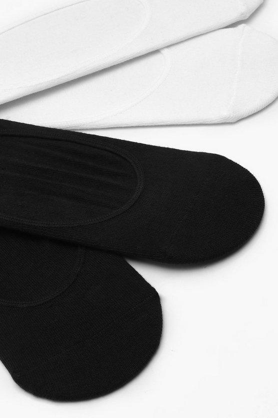 Black & White Invisible Sock 4 Pack