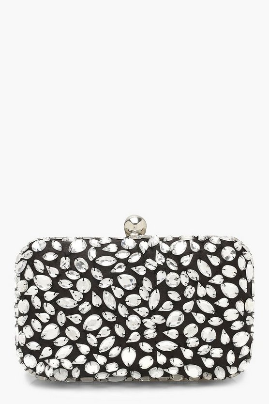 Womens Silver All Over Embellished Box Clutch