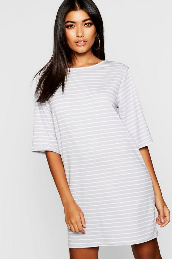 Womens Grey Stripe T-Shirt Dress