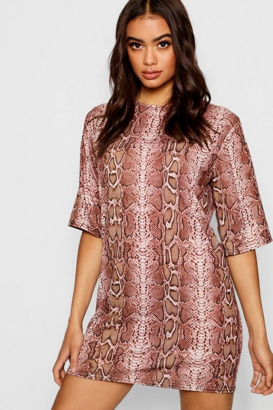 Womens Pink Snake Print T-Shirt Dress