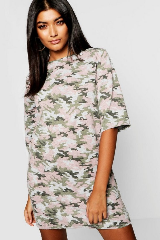 Womens Pink Camo Print T-Shirt Dress
