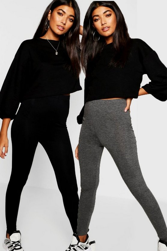 Charcoal 2 Pack Basic High Waist Leggings