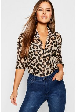 Womens Brown Petite Chiffon Leopard Print Shirt