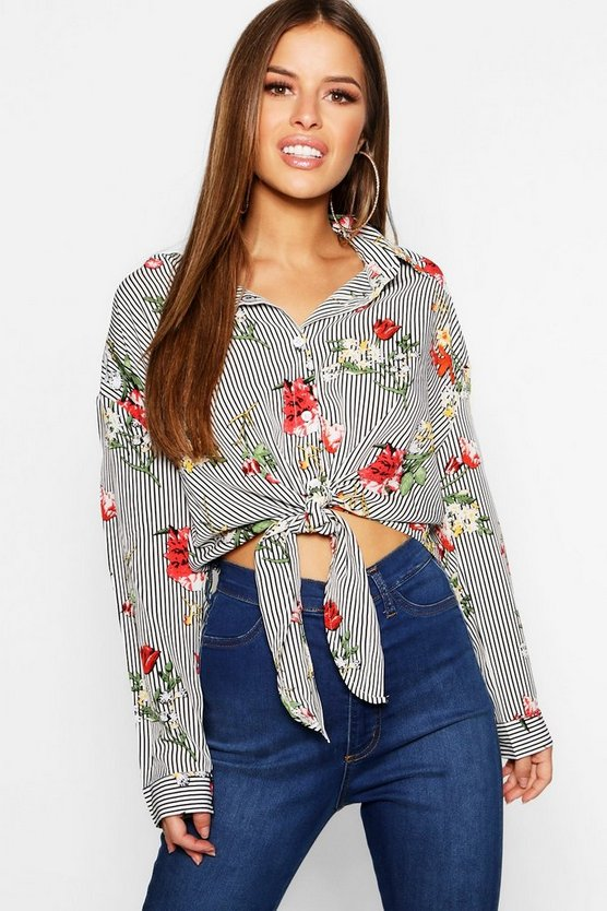 White Petite Stripe And Floral Oversized Shirt