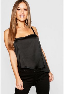 Womens Black Petite Satin Asymmetric Hem Cami