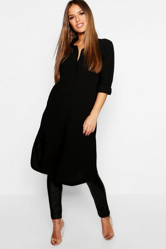 Womens Black Petite Split Side Maxi Shirt