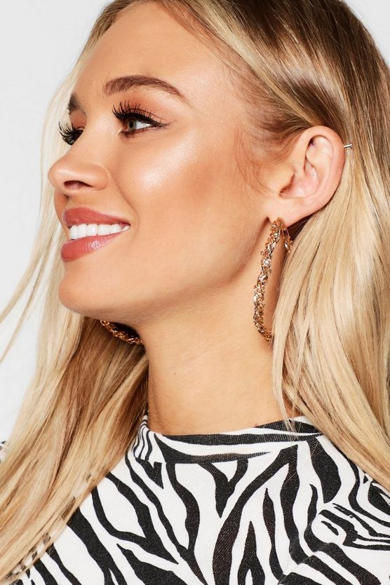 Gold Twisted Chain Hoop Earrings