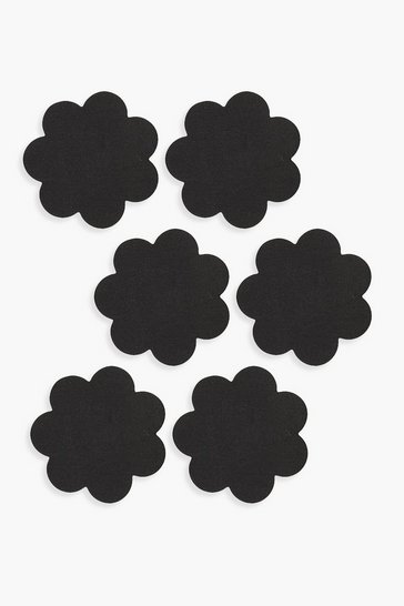 Womens Black Satin Flower Nipple Covers 3 Pack