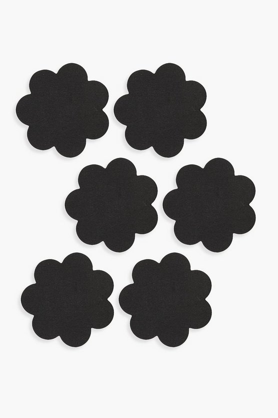 Black Satin Flower Nipple Covers 3 Pack