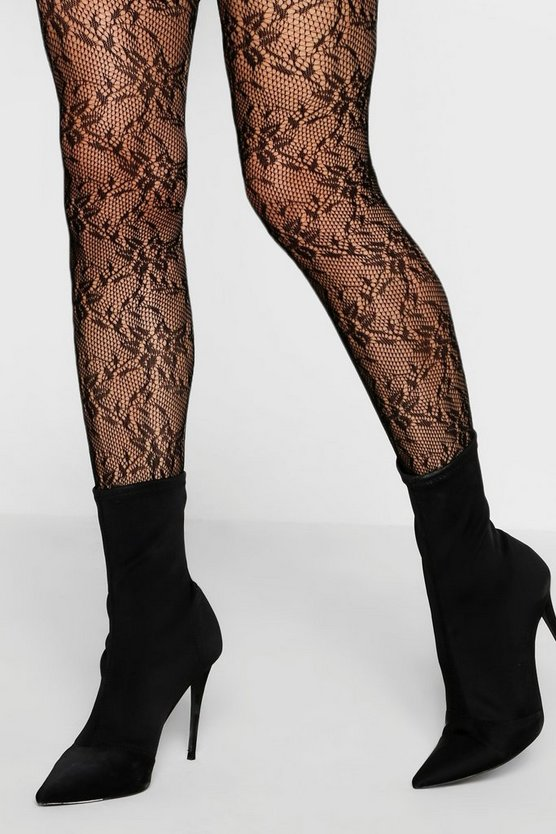 Lace Floral Fishnet Hold Ups