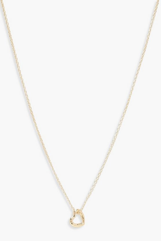 Womens Gold Delicate Heart Skinny Necklace