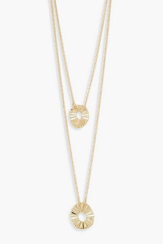 Textured Circle Double Layer Necklace