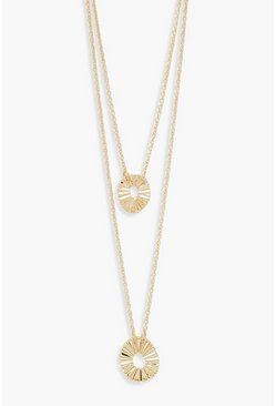 Womens Gold Textured Circle Double Layer Necklace